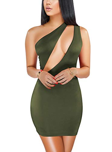Sprifloral Womens Sexy Stretch Bodycon Dress One Shoulder Sleeveless Cutout Bandage Mini Party Dress Army Green Large ()