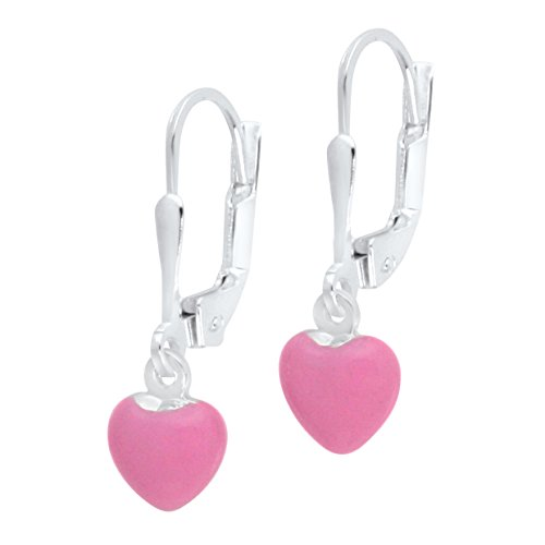 UNICORNJ Sterling Silver Childrens Earrings Leverback with Enamel Pink Heart Charm