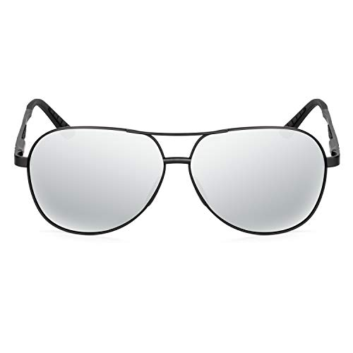 XXL extra large Classic Round Aviator Polarized Sunglasses for big wide heads 150mm (black, silver)