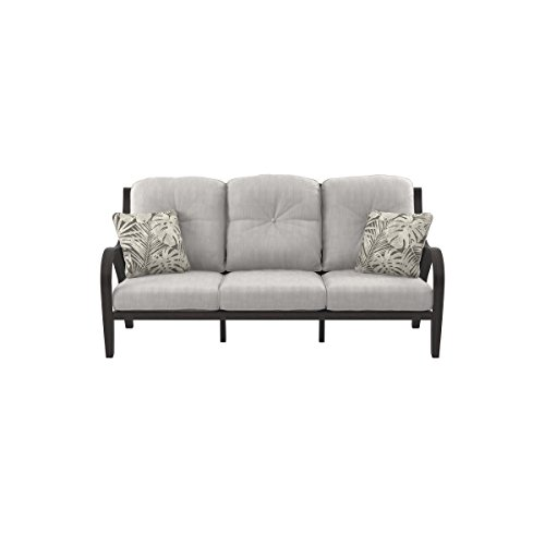 - Ashley Furniture Signature Design - Marsh Creek Outdoor Sofa with Cushion - Brown & Gray