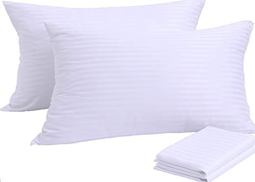 Pillow Protectors 4 Pack Standard 20x26 Inches PillowCases Covers ❤️ Reduces Allergies ❤️White Protectors Premium High 200 300 Thread Count Cotton Sateen Set Zippered Hotel Quality