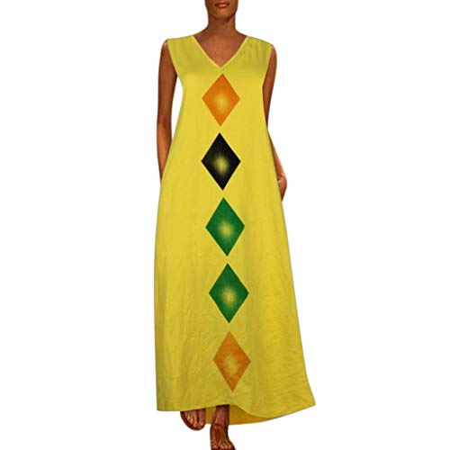 (BODOAO Women Print Long Maxi Dress Sleeveless Casual Loose Oversized V Neck Dress)