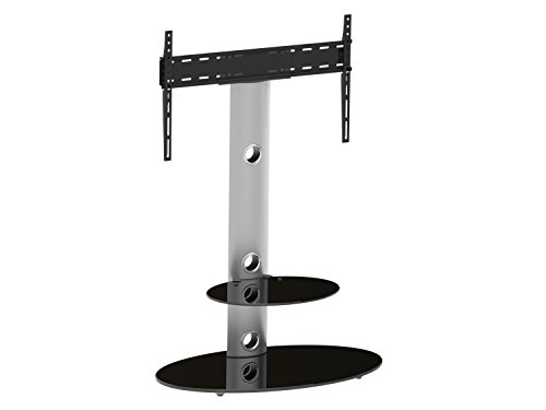 AVF FSL800LUS-A Lugano Oval Pedestal TV Stand, Silver and Black Glass