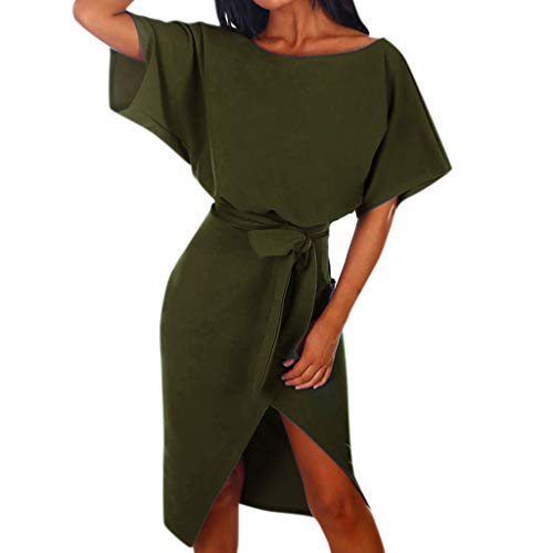 (【MOHOLL】 Womens Off The Shoulder Party Dresses Side Split Beach Maxi Dress Summer Slim Midi Dresses Army Green)