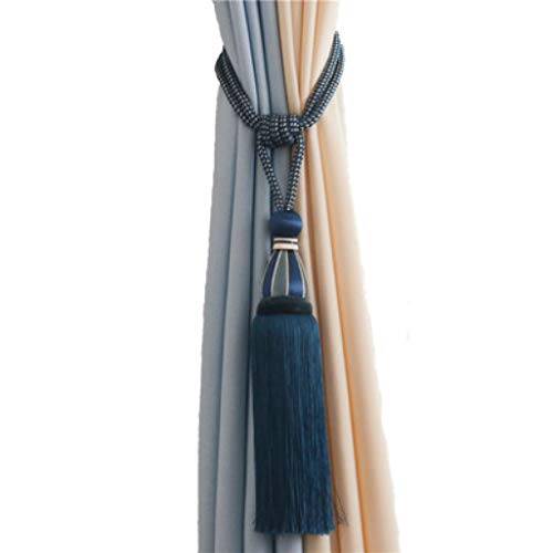 XDH-RTS 2 Pcs Curtain Tassel Tieback Rope Strap Tassels Buckle Handmade Hanging Ball Long Fringe Pendants Home Decor