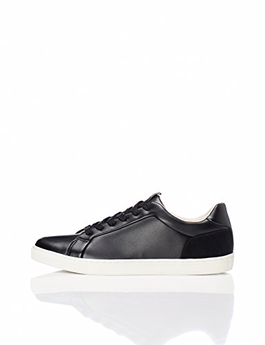 Noir FIND en Basses Black Homme Cuir Baskets PPvqXwCxf