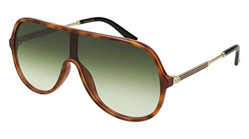 Gucci GG 0199S 004 Havana Plastic Shield Sunglasses Green Gradient - Shield Gucci