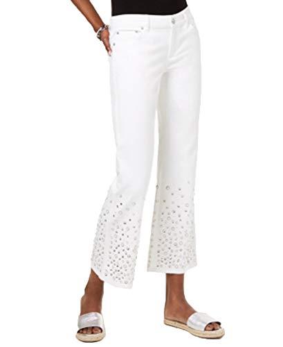 Michael Kors Women's Jeans Skinny Izzy Bianco Con Cristalli 38(IT)-XS(US) White