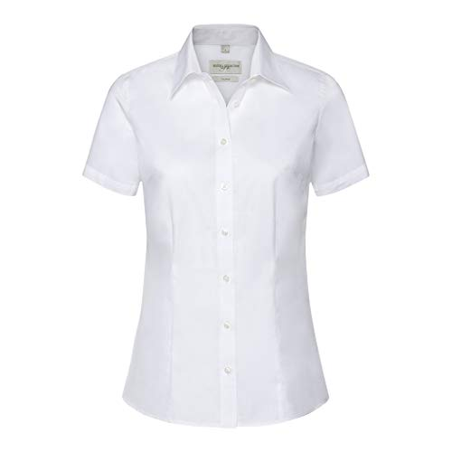 Russell Collection Womens/Ladies Short Sleeve Tailored Shirt (XL) (White)