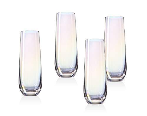 Monterey Stemless Champagne Flute Beverage Glass Cup by Godinger - Set of 4