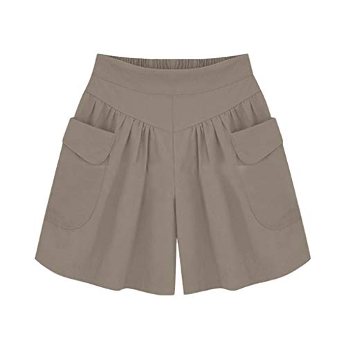 Plus Size Solid Loose Hot Pants Women Pockets Lady Summer Casual Shorts Brown