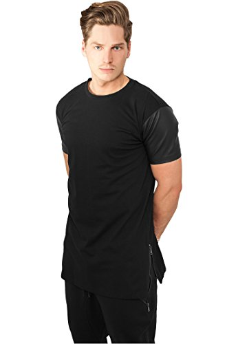 URBAN CLASSICS - LONG ZIPPED LEATHER IMITATION SLEEVE TEE - BLACK / BLACK