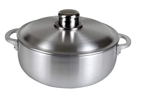 Polished Aluminum Lids - Kitchen Sense Heavy Gauge Polished Aluminum Caldero Dutch Oven Cauldron with Aluminum Lid, and Stainless Steel Knobs, 3.7 Quart
