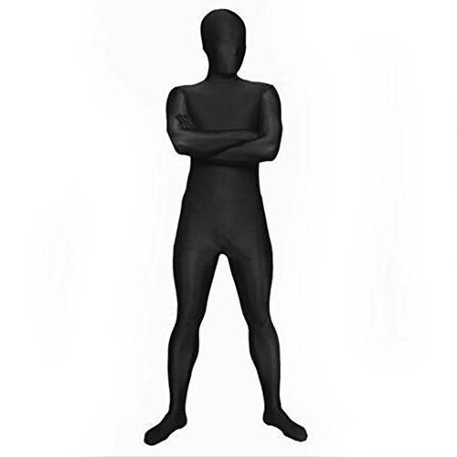 [Muka Lycra Zentai Supersuit Halloween Costume 2nd Skin Full BodySuit Dancewear BLACK-M] (Morph Suit Costumes Ideas)