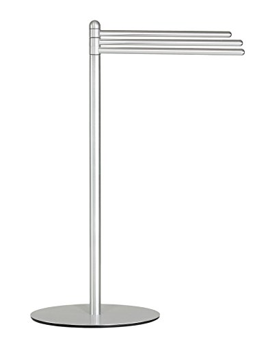Cortesi Home Noli Contemporary 3 Swing Arm Towel Stand, Brushed - Towel Holder Arm Stand 3