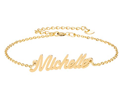 HUAN XUN Gold Charm Mom Name Michelle Letter (Best Ivan Friend Bracelets For Boys)