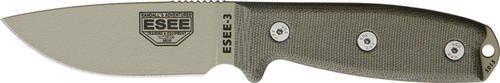 ESEE Knives Model 3 Plain Edge Desert Tan Blade, Green Canvas Micarta Handles RC-3 (Rc 3 Sheath)