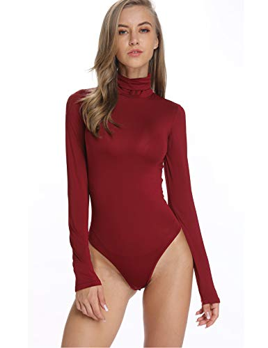 Women Turtleneck Basic Bodysuit Jumpsuit Plus Size Tops Stretchy Long Sleeves Mock Neck Bodycon Leotard Red ()