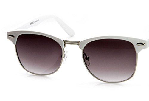 Designer Inspired Classic Half Frame Horned Rim Wayfarer Sunglasses (White Silver, - White Clubmaster