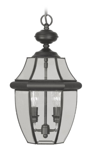 Livex Lighting 2255-04 Monterey 2 Light Outdoor Black Finish Solid Brass Hanging Lantern with Clear Beveled ()
