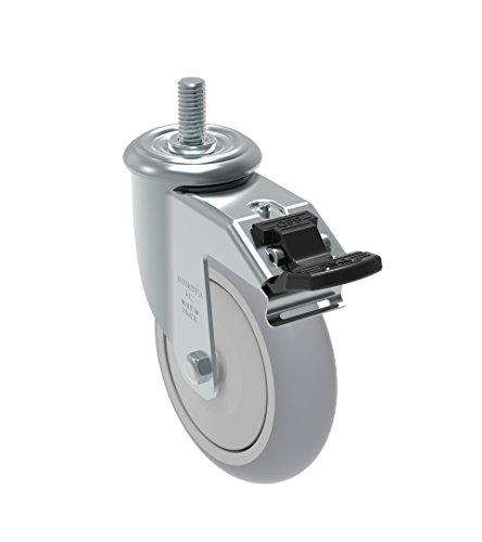 10 mm Diameter x 40 mm Length Threaded Stem Non-Marking Polyurethane Precision Ball Bearing Wheel 325 lb Schioppa GLEFF 512 UPE L12 Series 5 x 1-1//4 Diameter Swivel Caster