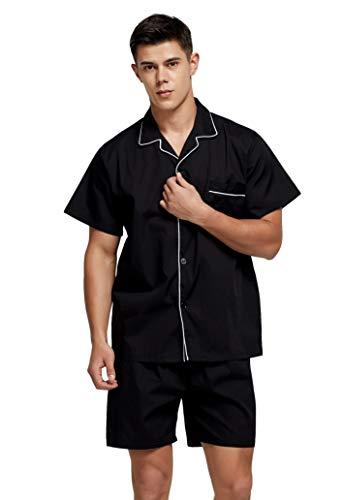TONY AND CANDICE Men's Cotton Pajamas, Short Sleeve Pajama Set Woven Button-Down Sleepwear Loungewear Nightwear (Black, Large)