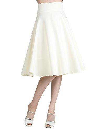 Women's Cream High Waist Cream Midi Skater Skirt XL