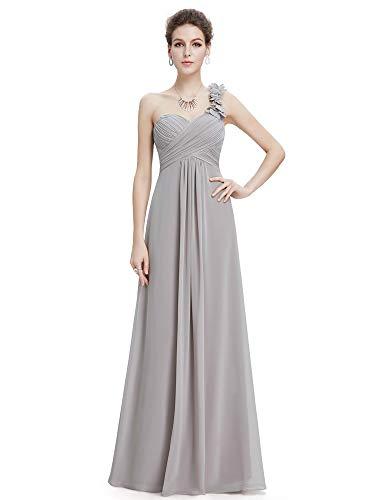 Ever-Pretty Womens Long Chiffon Flowers Prom Dress 14 US Grey (Charcoal Grey Prom Dresses)