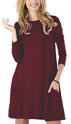 TINYHI Women's Pockets Casual Swing T-Shirt Tunic Scoop Neck Loose Dressess(Burgundy,XL)