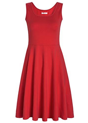 PintageWomen's Square Neck Sleeveless A Line Tank Dress S Red
