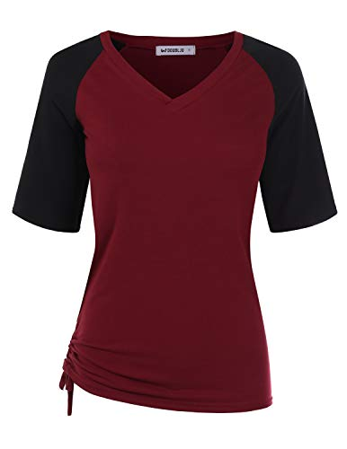 - CLOVERY Women's Sporty Design Top Raglan Short Sleeve V-Neck Shirt BURGUNDYBLACK S