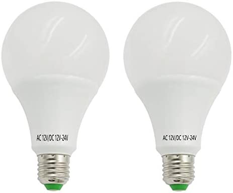 AIYOWEI - Pack de 2 bombillas LED E26 E27 12 V-24 V CA/CC 12 W