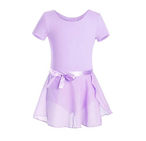FEESHOW Girls' Gymnastic Ballet Dance Tutu Dress Leotard Skirt Princess Costume Lavender set 2-3 ()