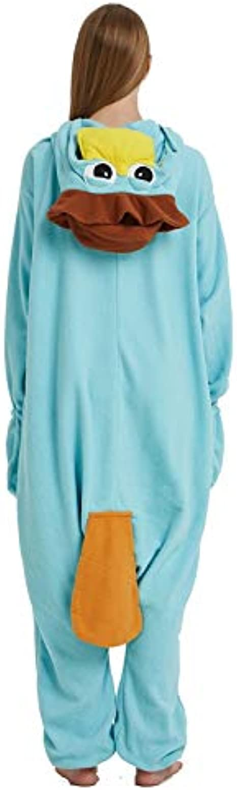 Halloween 3D Ears All in One Sleepsuit Super Soft Fleece Hooded Jumpsuit Nightwear Adults Unisex Platypus Novelty Onesie Pajamas Christmas Cosplay Autumn Winter Loungeable Costumes,S