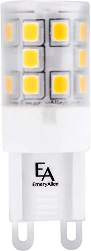 Emery Allen EA-G9-3.0W-001-279F-D Dimmable Miniature Bi-Pin Base LED Light Bulb, 120V-3Watt (25W Equivalent) 300 Lumens, 2700K, 1 Pcs
