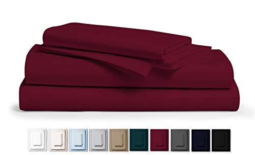 Kemberly Home Collection 800 Thread Count 100% Pure Egyptian Cotton - Sateen Weave Premium Bed Sheets, 4- Piece Burgundy Queen- Size Luxury Sheet Set, Fits mattresses Upto 18