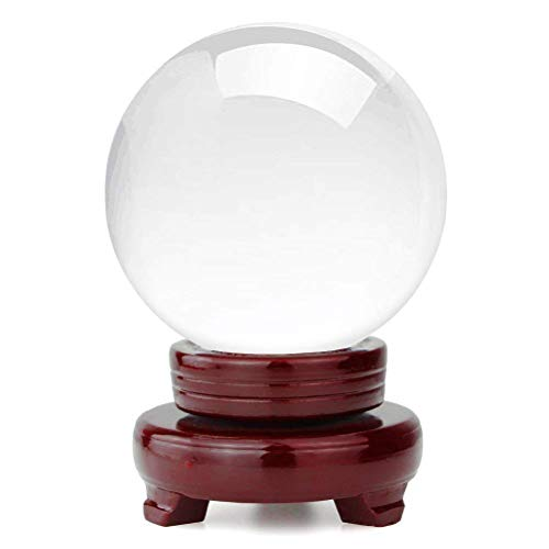 OwnMy Crystal Ball Photography Meditation Ball Contact Juggling Glass Sphere Display with Stand (80MM / 3.15
