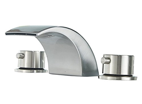 (Greenspring 2 Handles 3 Hole Commercial Widespread LED Bathroom Waterfall Basin Faucet Brushed Nickel Dual Handle Bathroom Sink Faucet No Pop Up Drain Include)