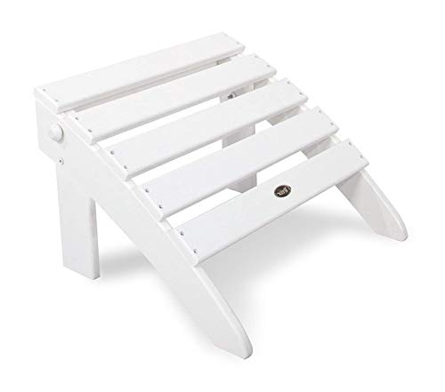 Trеx Оutdооr Furniturе By Pоlywооd Patio Outdoor Garden Premium Cape Cod Folding Ottoman, Classic White