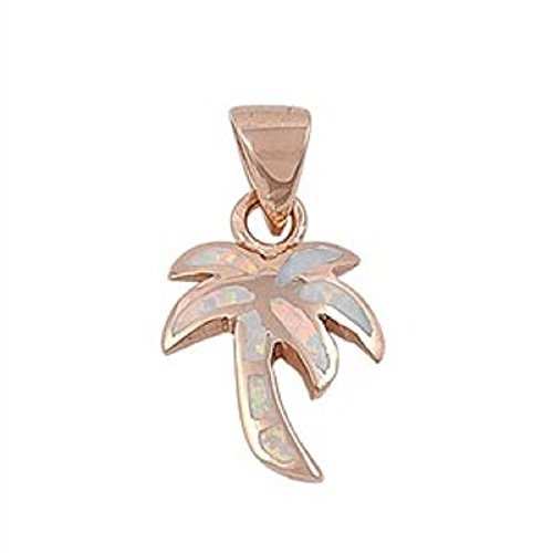 16MM ROSE GOLD Plated Sterling Silver White Lab Opal Palm Tree Pendant Necklace (Tiffany Palm Tree Necklace)