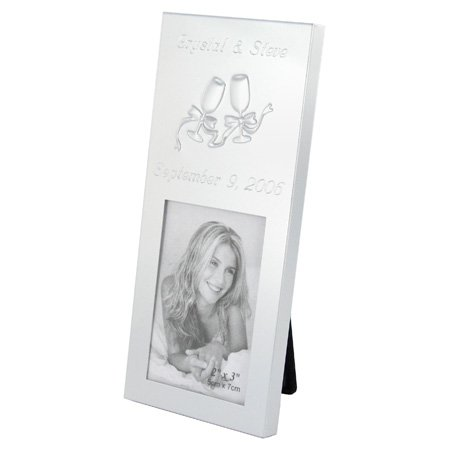 Silver Brushed 2x3 Toasting Glasses Place Card Frame Personalized Gift (Place Card Brushed Frame Silver)