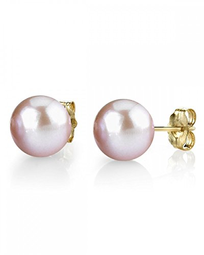 14K Gold 9-10mm Pink Freshwater Cultured Pearl Stud Earrings - AAAA Quality - Pink Pearl Earrings 10mm