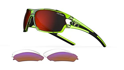 - Tifosi Amok Sunglasses (Crystal Neon Green, Clarion Red/AC Red/Clear)