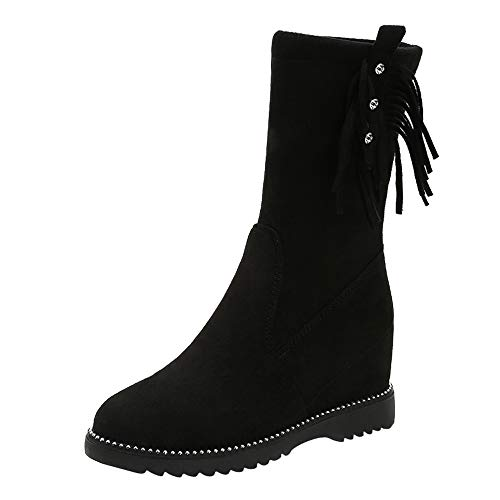 Realdo Womens Mid Calf Boots, Clearance Sale Women Casual Wedges Tassel Flock Martin Booties Shoes (US 5.5,Black)