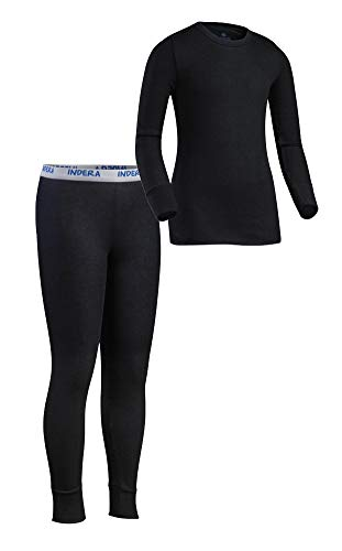 Indera Youth Performance Polyester Rib Knit Set with Silvadur, Black, Small (Performance Knit Thermal)