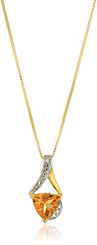 - Sterling Silver Trillion-Cut Citrine and Diamond Accent Pendant Necklace, 18