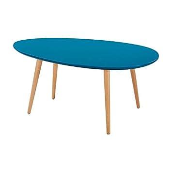 Stone Table Basse Ovale Scandinave Bleu Paon Laque L 98 X L 61