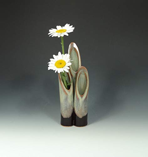 Ceramic Stem Vase in Multi-Hued Blues & Tan with Black Base, Pottery Bud Vase, Colorful Flower Vase