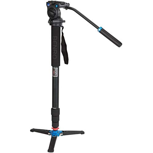 3' Base - Benro Aluminum 3 Series Twist-Lock Video Monopod Kit w/ 3-Foot Articulating Base and S2 Video Head (A38TDS2)