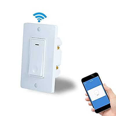 Ledes Smart Wifi Light Switch with Remote Control and Timer Compatible with Alexa,Google home and IFTTT,Intelligent Incandescent Light LED Bulb Switches App and Voice control No Hub required